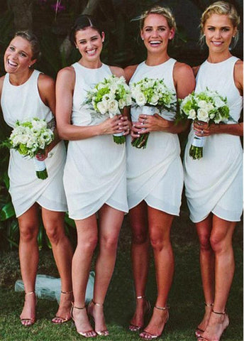 Simple Chiffon Jewel Neckline Sheath / Column Bridesmaid Dresses