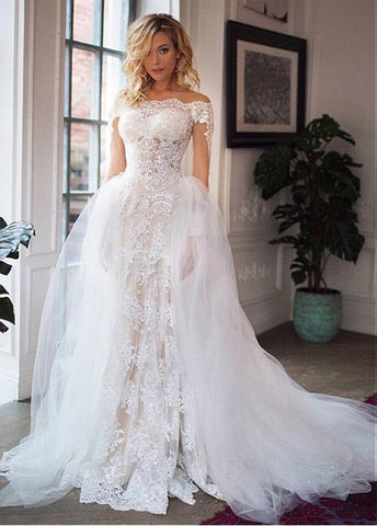 Tulle Off-the-shoulder Detachable Skirt 2 In 1 Wedding Dresses With Lace Appliques