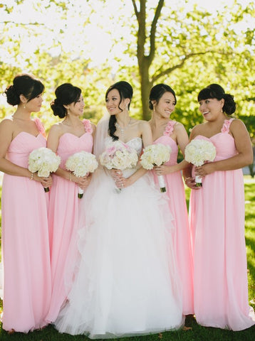 Pink  Bridesmaid Dress with Handmade Flowers