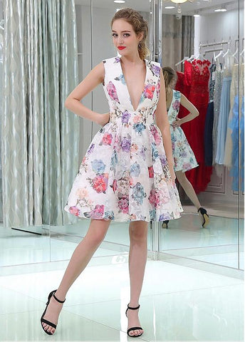 Floral Cloth V-neck Neckline A-line Homecoming Dresses