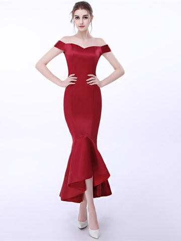 Sheath Off-the-Shoulder Pick-Ups Asymmetry Evening Dress