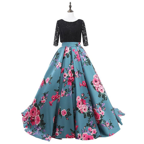 Half Sleeve Lace Print Prom Dress