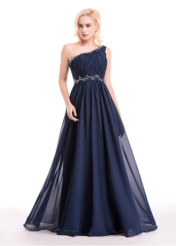Gorgeous Chiffon One-Shoulder A-Line Prom Dresses With Beads