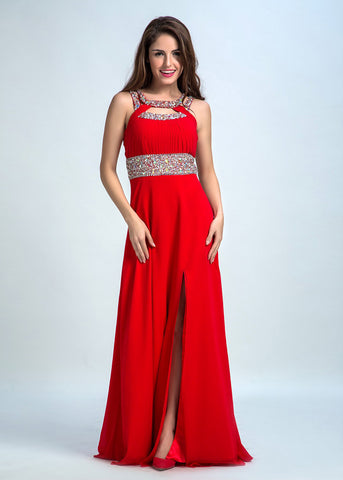 Attractive Chiffon Jewel Neckline Cut-out Back A-Line Prom Dresses With Beadings