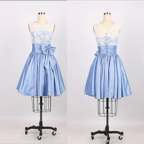 A-Line Scoop Knee Length Taffeta Blue Prom/Bridesmaid Dress