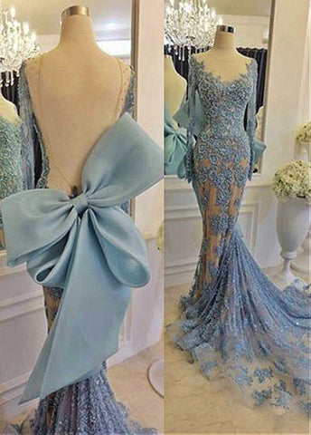 Wonderful Tulle Jewel Neckline Mermaid Evening Dresses With Beaded Lace Appliques