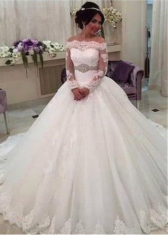 Off-the-shoulder Beading Long Sleeves Ball Gown Wedding Dress