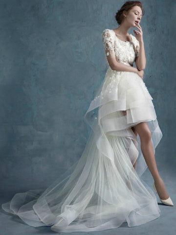 Asymmetry High Low Tulle Short Sleeves Lace Beach Wedding Dress