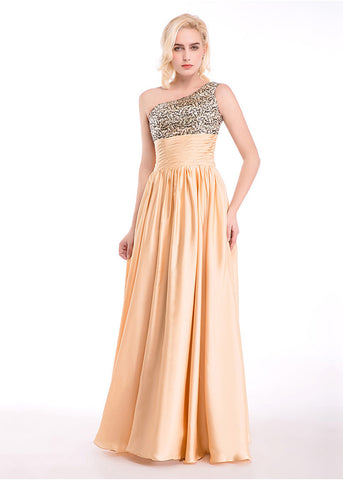 Bling Sequin Lace & Satin Chiffon One-Shoulder Prom Dresses