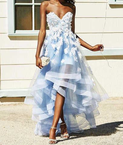 Blue Sweetheart High Low Lace Tulle Prom Dress