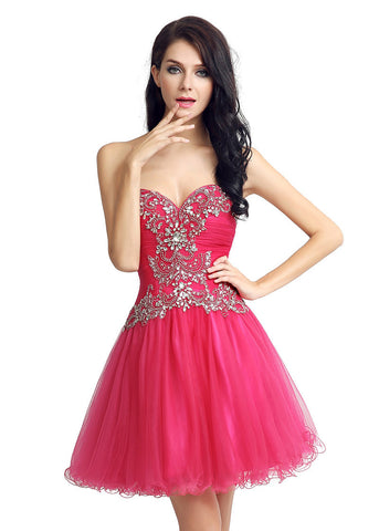 Pretty Tulle Sweetheart Neckline Short Length A-Line Homecoming Dresses With Beadings