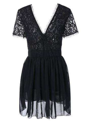Black Lace Spliced Plunging Neck Sexy Birthday Dress