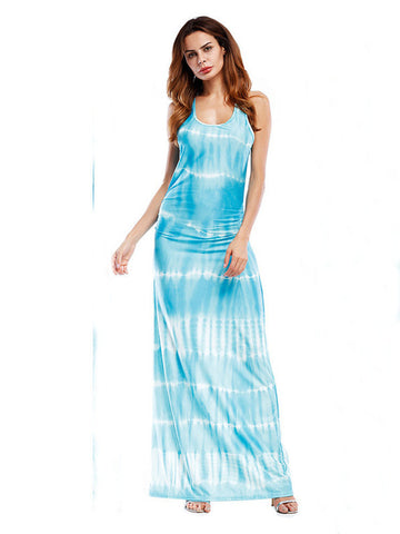 Beautiful Bohemian Printed Striped Fold O-Neck Maxi Dress