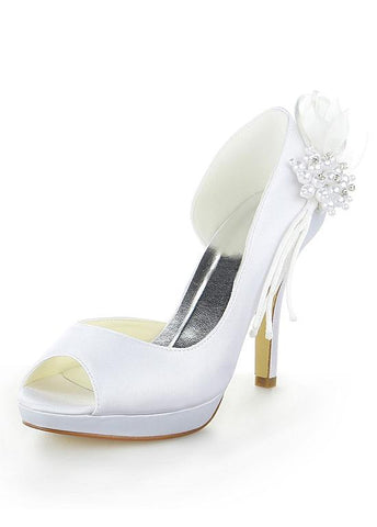 Chic Satin Upper Peep Toe Stiletto Heels Bridal Shoes With Bowknot