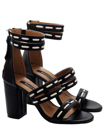 Black Faux Leather Elastic Zipper Sandals