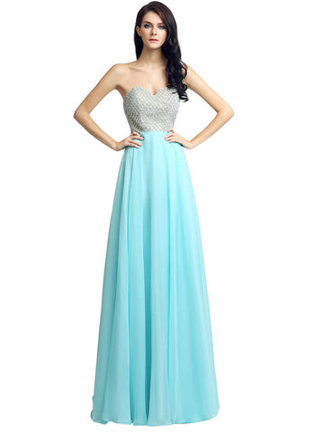 Stunning Chiffon Sweetheart Neckline A-Line Prom Dresses With Rhinestones