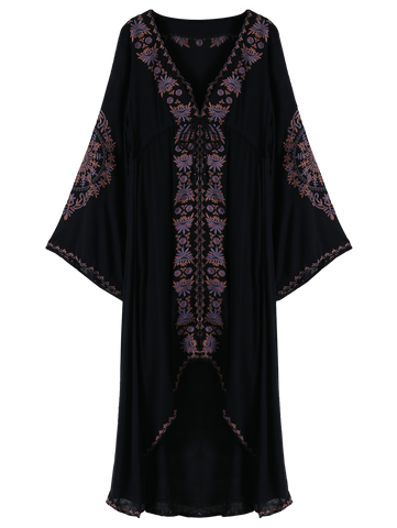Black Embroidered High-Low Maxi Dress