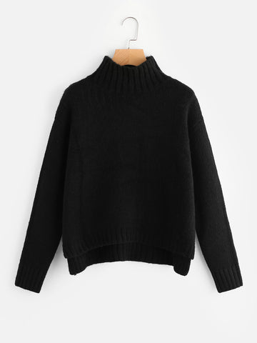 Black Classic High Neck Stepped Hem Jumper