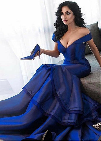 Satin & Organza Off-the-shoulder Long Mermaid Evening Dress
