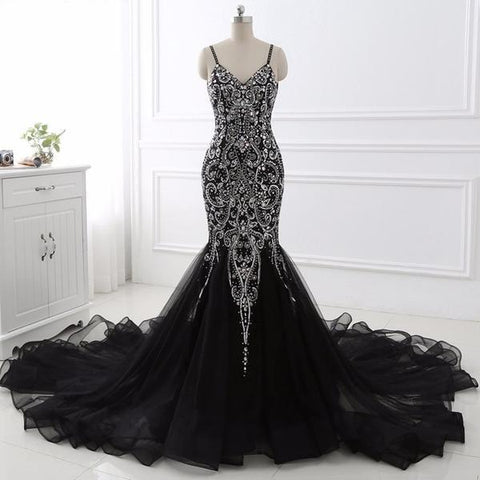 Black Mermaid Beading Prom Dress