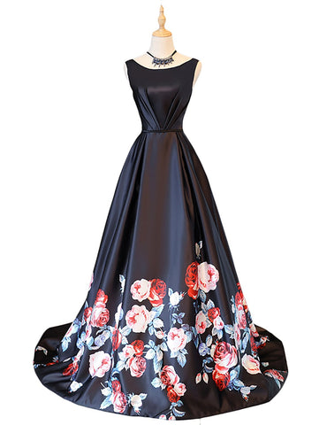 Black Satin Boat Neck Print Prom Dress
