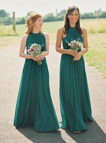 Green Round Neck Pleated Chiffon Bridesmaid Dress