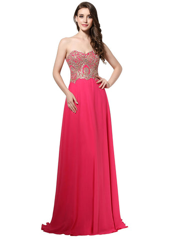 Delicate Chiffon Sweetheart Neckline Natural Waistline A-line Prom Dresses With Hot Fix