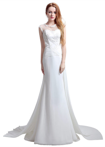 Tulle & Chiffon Illusion Jewel Neckline Sheath Wedding Dresses With Lace Appliques