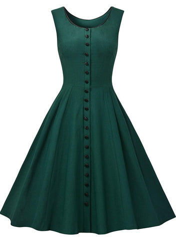 Women's Vintage 1950s Elegant Sleeveless Cocktail Party Flared Swing Dress