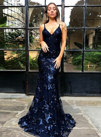 Navy Blue Backless Mermaid Spaghetti Straps Tulle Appliques Prom Dress