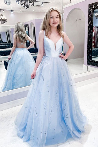 A Line Satin And Tulle Blue V Neck Backless Prom Dress