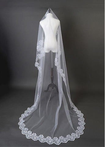 Beautiful White Tulle Cathedral Wedding Veil With Lace Applique Edge