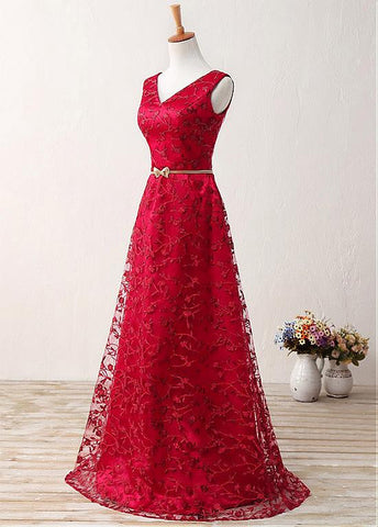 Red Fabulous Lace V-neck Neckline A-Line Prom Dresses