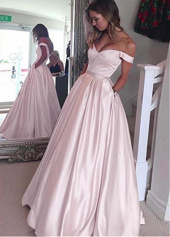 Elegant Satin Off-the-shoulder Neckline A-Line Prom Dresses With Beadings & Pockets