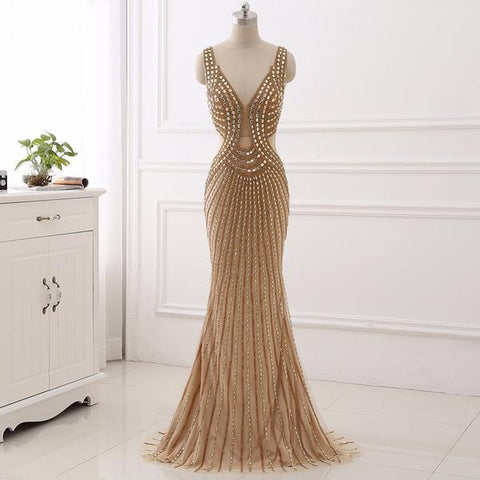Gold Backless Sleeveless Beaded Long Prom Evening Dress