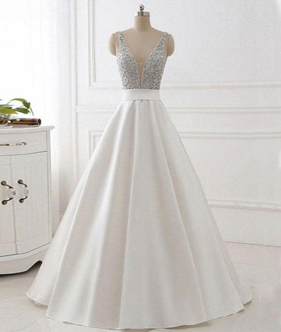 White V Neck Beads Sequin Long Prom Dress