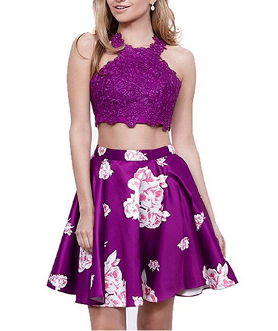 Juniors Halter Pageant Two Piece Homecoming Party Dresses