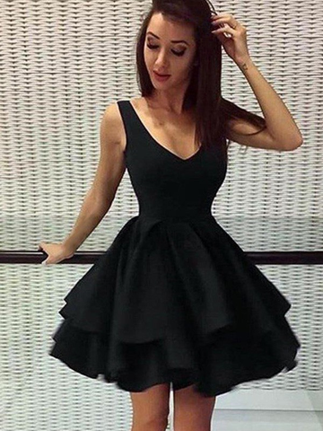 A-Line Black Straps Satin Layers Short Mini Homecoming Dress