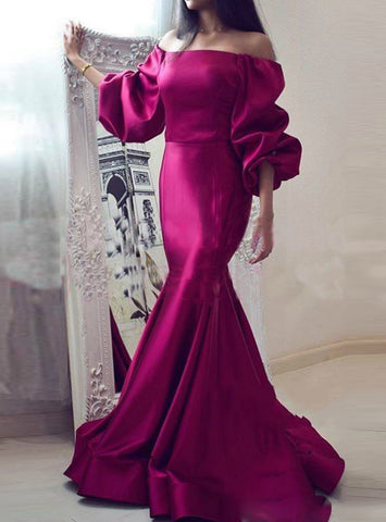 Mermaid Satin Fuchsia Off the Shoulder Puff Sleeve Prom Dress