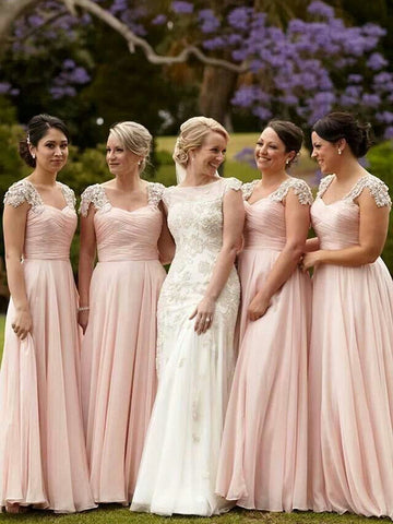 Pink Short Sleeves Square Beading Bridesmaid Dress