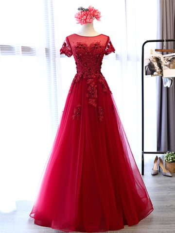 A-Line Cap Sleeves Appliques Pearls Scoop Floor-Length Evening Dress