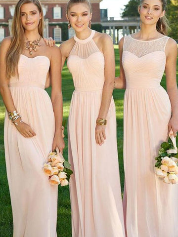 Princess Sleeveless Ruched Chiffon Bridesmaid Dress