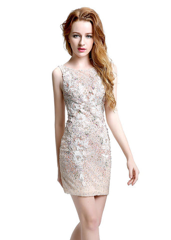 Amazing Lace Bateau Neckline Short-length Sheath Cocktail Dresses With Beadings