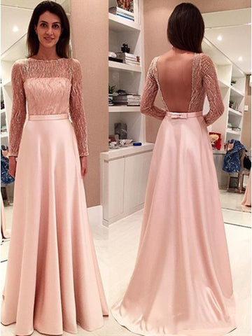 Pink Long Sleeves Beading Bowknot Sashes Bateau Backless Evening Dress