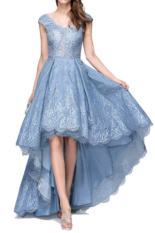 Blue Lace High Low Prom Dress