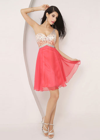 Watermelon One Shoulder Homecoming Dress