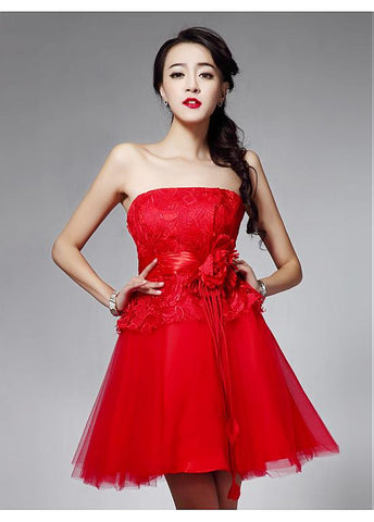 Stunning Lace & Tulle Strapless Neckline Short A-line Homecoming Dress