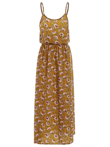 Yellow Beach Floral Maxi Dress
