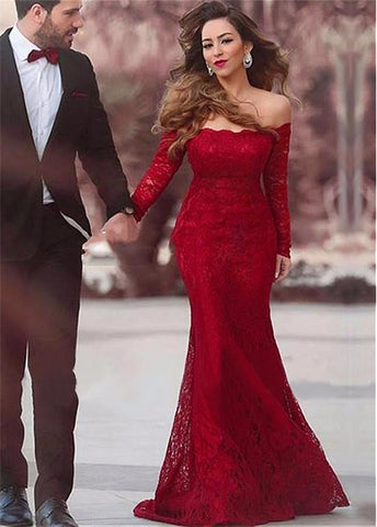 Red Lace Off-the-shoulder Mermaid Formal Dresses