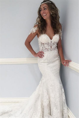 Ruffles See Through Lace V-Neck Sexy Cap Sleeve Wedding Dress